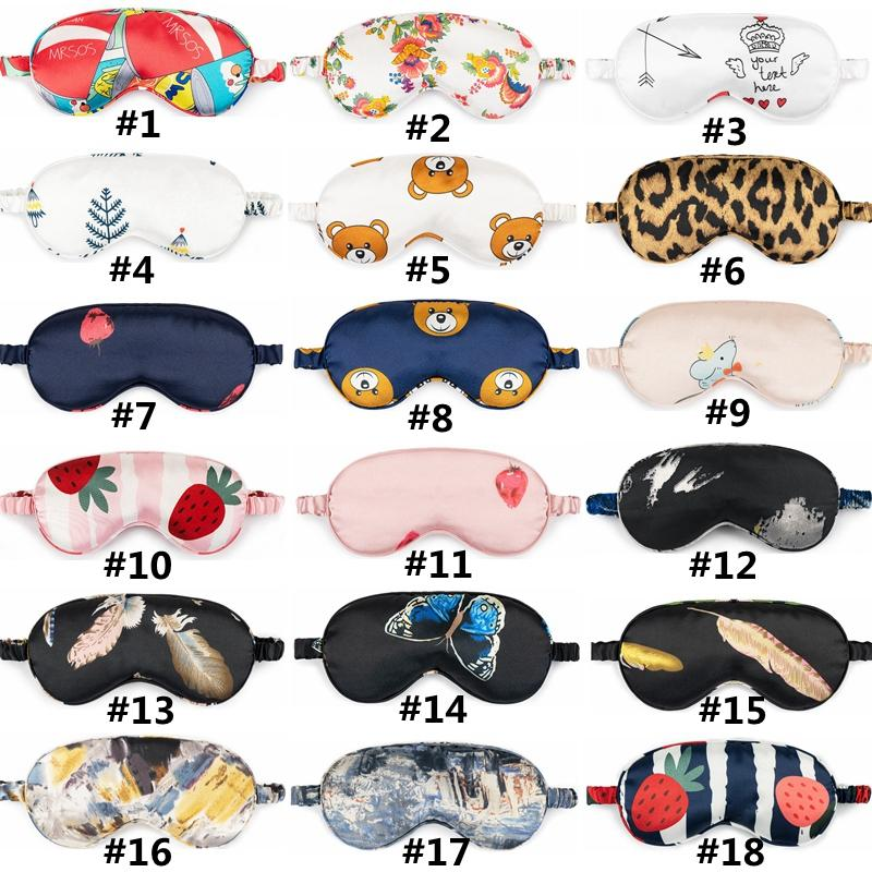 Masque soie sommeil yeux Imprimer Shade Eye Couverture souple Natural Relax Masques de sommeil Portable Voyage HHA1603