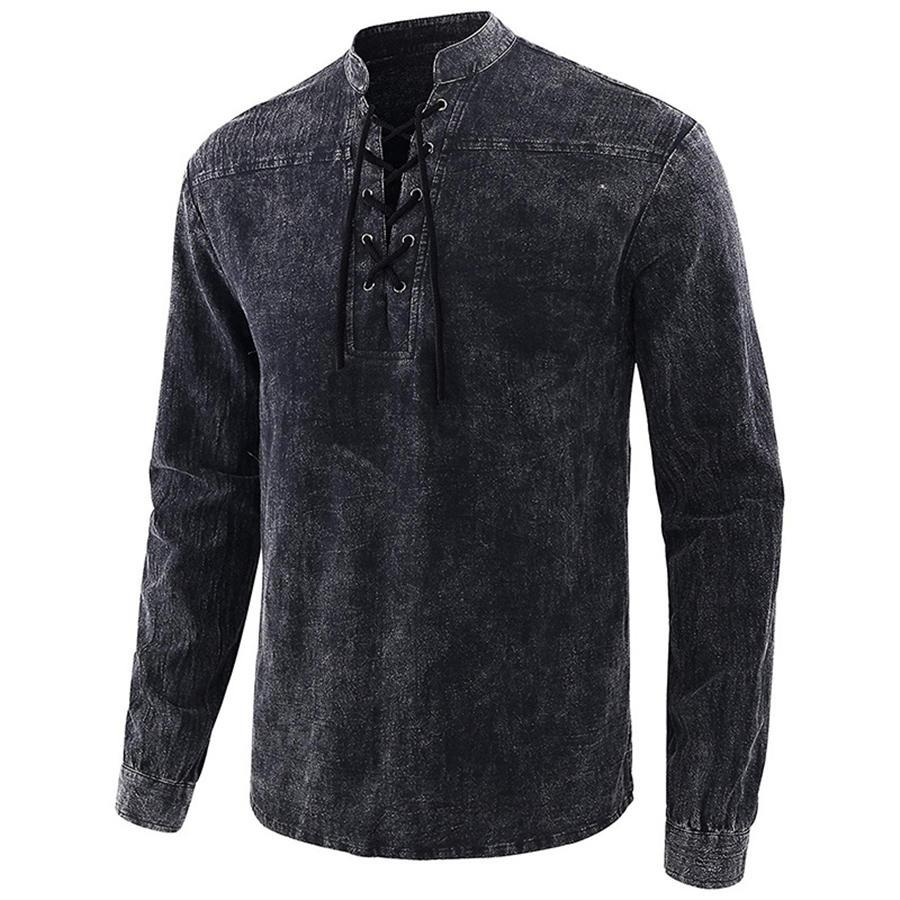 El color natural para hombre camisetas para hombre de las camisetas de moda casual camisetas de manga larga # 306