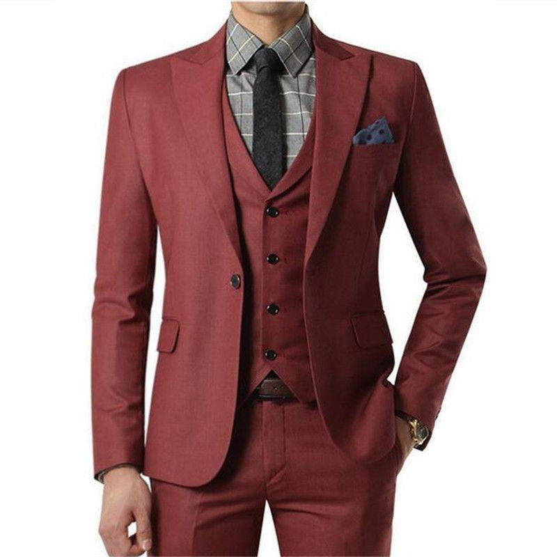 2021 Wine Red Men Suit 3 Stück Jacke + Pants + Vest Individuelle Homme Hochzeit Anzüge mit Hosen für Herren Smoking Grooms elegante Slim Fit