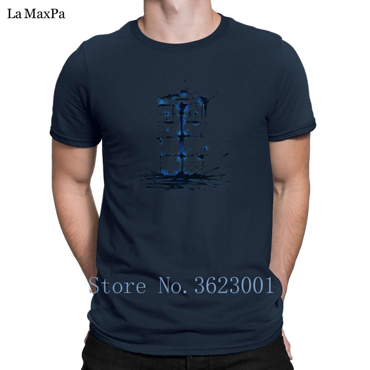 Família de projetar Slogan Camiseta Splaaash Series Blue Box Ink T-shirt de algodão anti-rugas Homens 2018 Moda