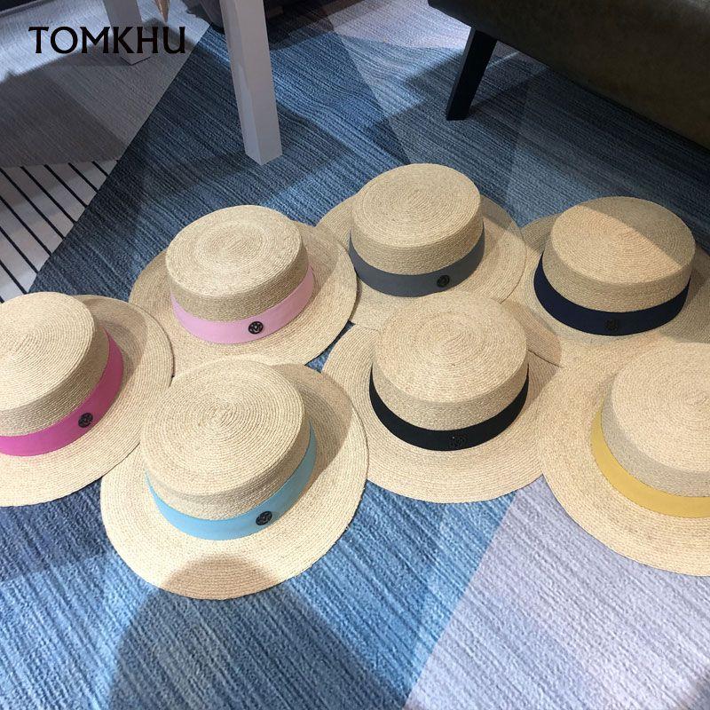 Высокое качество Широкий Брим ВС Hat Женщины Vintage канотье Straw Hat Классическая лента Группа лето плетеная пляж Оптовая