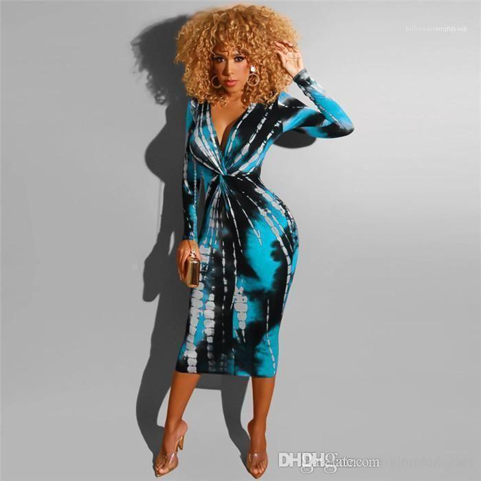 Giyim Moda Plajı Tarzı Yaz İlkbahar Gündelik Giyim Folra BODYCON Elbise Uzun Kollu V Yaka Kadın yazdır