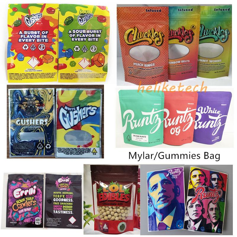 Runtz Errlli LOL Edibles Packaging Gushers Chuckles Mylar sacchi con chiusura commestibili confezione sacchetto di cibo Gummies borsa Obama Runtz Joker Up Cannaburst