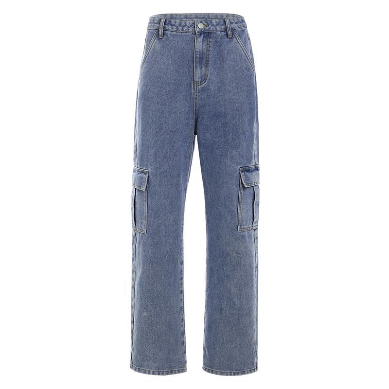 Taschen Patchwork-hohe Taillen-Jeans Frauen Street Gerade geschnittene Jeans Femme Blau 100% Baumwolle Cargohose