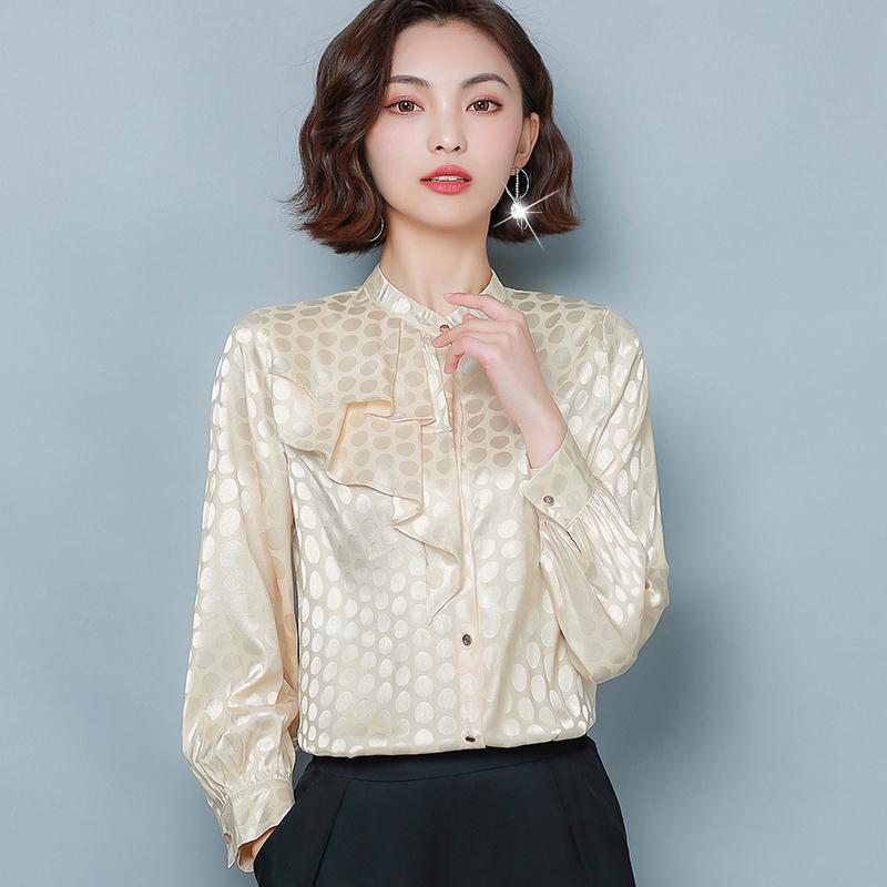 Plus Size Shirt Dot Impresso Ruffles businss shirt das senhoras gola Moda Retro Camisa OL manga comprida Blusa M L XL 2XL 3XL 4XL
