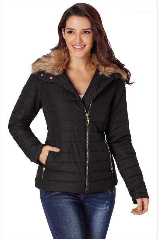 Coats Kış Kalın Sahte Kürk Fermuar Slim Fit WINDBREAKER Coats Kadınlar Aşağı Cepler