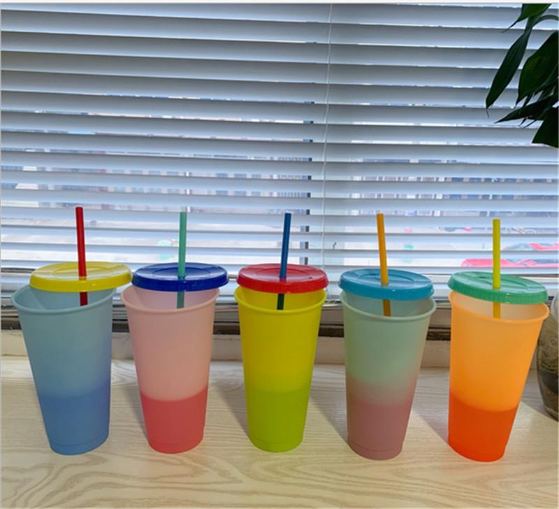24oz Plastic Drinking Tumblers Color Changing Water Bottles Cup With Lid And Straw Mug Temperature Sensing Magic Ice Hot Tumblers E82003