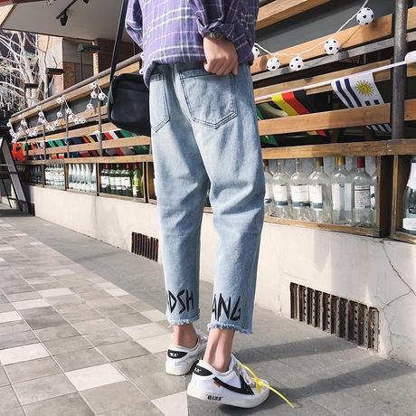 Весна Осень лосины печатные заусенцы мужские модные марки прямой трубки светлого цвета щиколоток Узкие брюки джинсы и брюки джинсы Корейский Styl