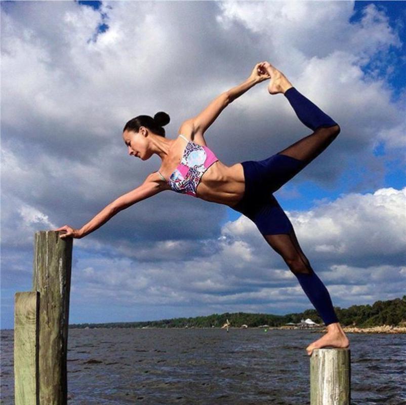 Professional Running Gym Compression Tight Leggings for Women High Waist Elastic Yoga Strappy Waist Training Jogging Pants