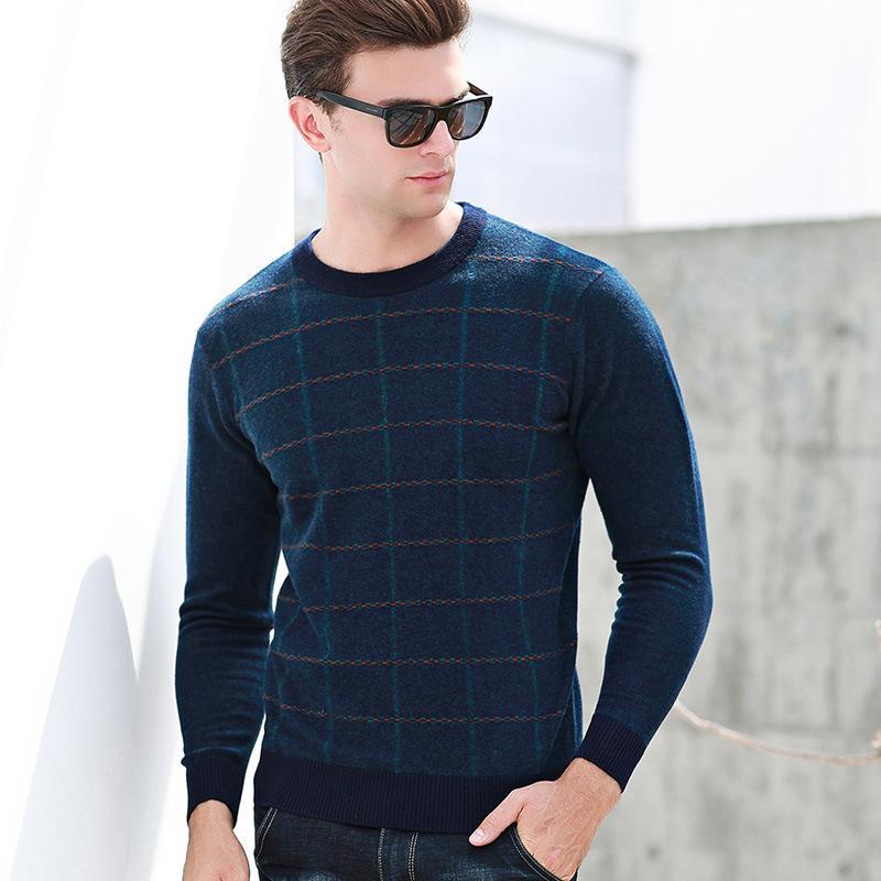 hohe Qualität 100% reine Wolle Jacquard-Jacke Pullover Winter Herbst Männer grundiert Computer gestrickt O-Ansatz Plaid Art und Weise Größe S-2XL