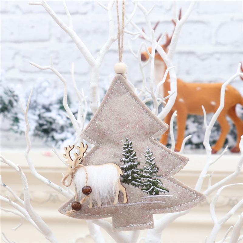 Navidad adornos colgantes Woodn estrella de cinco puntas Tela árbol de navidad de la decoración casera El restaurante suministra TUE88
