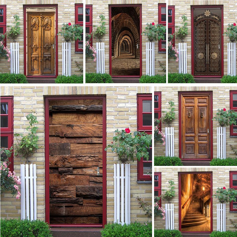 Porta 2PCS / SET Etiqueta de madeira Padrão PVC auto-adesivo impermeável 3D Movable Decoração Decal DIY Arte Mural Etiqueta