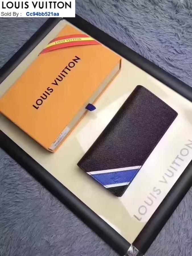 Portafoglio M64010 strisce blu White Men VERA PELLE PORTAFOGLIO LUNGO CATENA PORTAFOGLI BORSA COMPACT FRIZIONI CHIAVE SERA titolari di carta