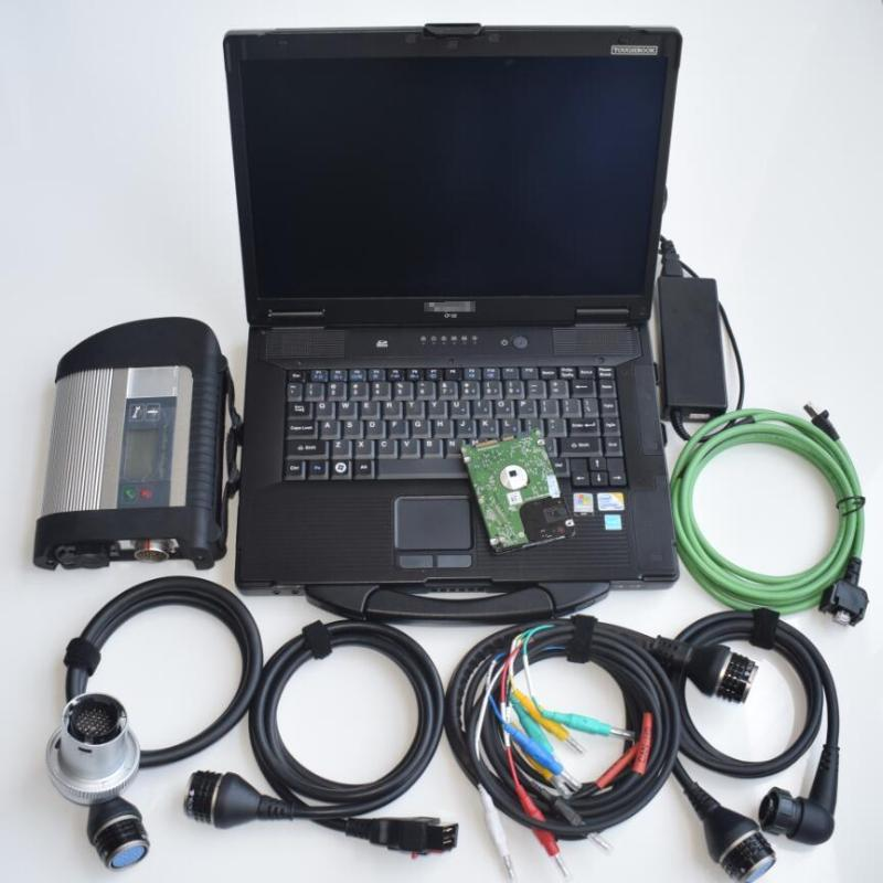 sd connect c4 hdd MB star diagnosis with laptop cf52 newest software full set for 12v 24v best quality ready to work