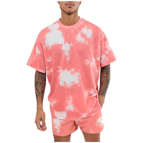 كم قصير يا الرقبة فضفاض 2PC مجموعات شارع الهيب هوب نمط ملابس رجالي التعادل مصبوغ رجال مصمم رياضية الصيف