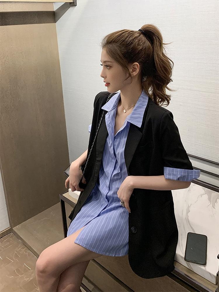 BRsWf h2Ev4 Mizaç gömlek yaz 2020 yeni siyah kaban ince ceket çizgili kısa kollu gömlek iki parçalı tanrıça