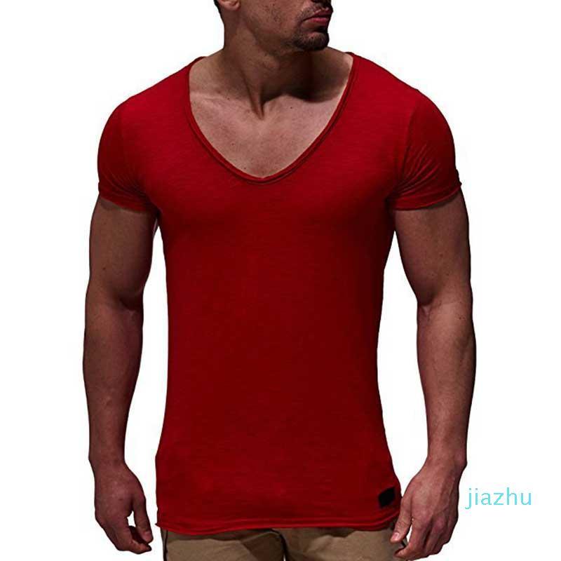 Hot Sale Fashion Deep V Neck Short Sleeve Men T Shirt Slim Fit T-shirt Men Thin Top Tee Casual Summer Tshirt Camisetas Hombre