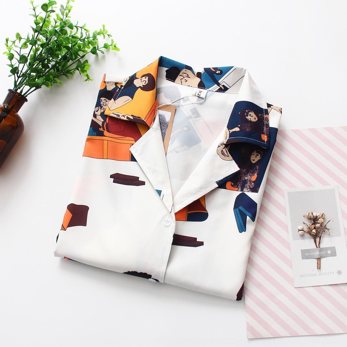 svnPh лето 2019 новую рубашку костюм носить корейский студент рукав блудниц воротник короткий стиль шифон рубашка