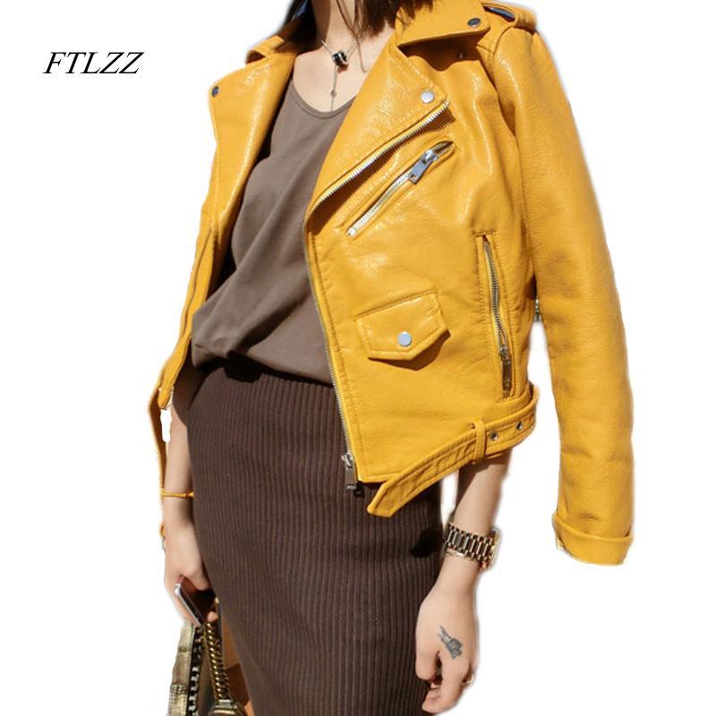 FTLZZ Zipper PU Veste en cuir courte rose Vetes avec ceinture classique de base Printemps femmes Faux cuir Outwear T200831