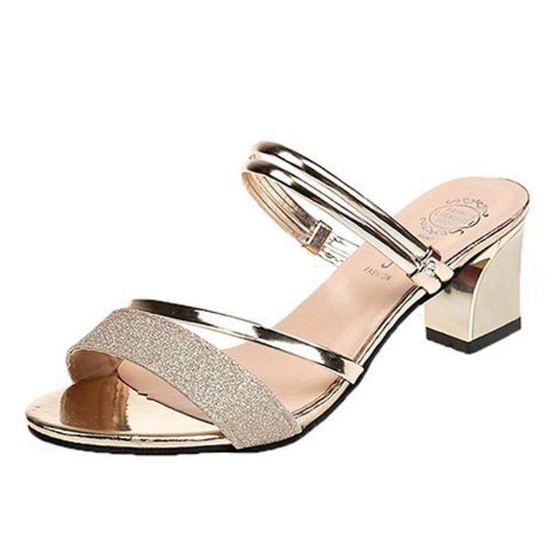 Sommer-Frauen Sandalen Bling Frauen-Pumpen-Schuhe Komfort Damenschuhe Frau Sandalie Gold Silber High Heels Schuhe