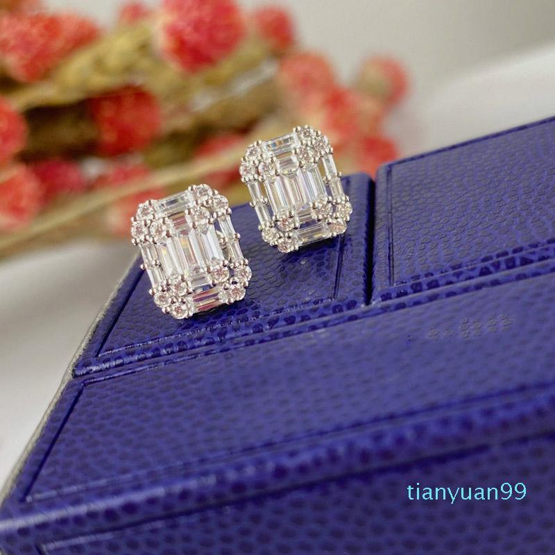 Hot Sale Brinco Cubo de Açúcar T brincos de diamante jóias prata esterlina 925 mulheres alta jóias de festa de Natal