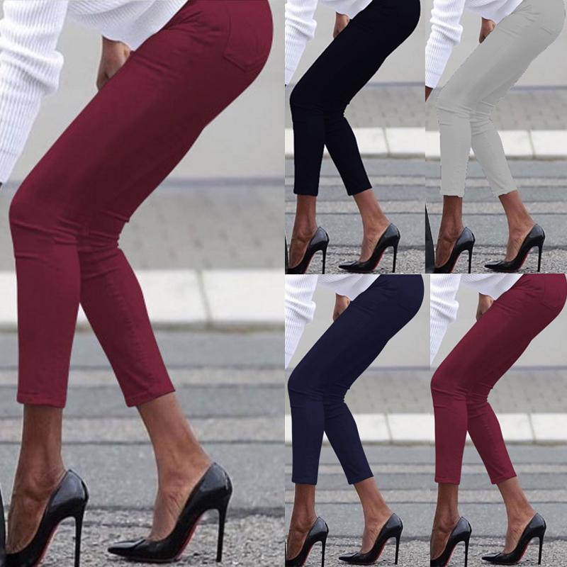 Vintage Sexy Mid Waist Pencil Pants Women 4 Colors Fashion Solid Cotton Trousers with Pockets Casual Aesthetic Streetwear Pant