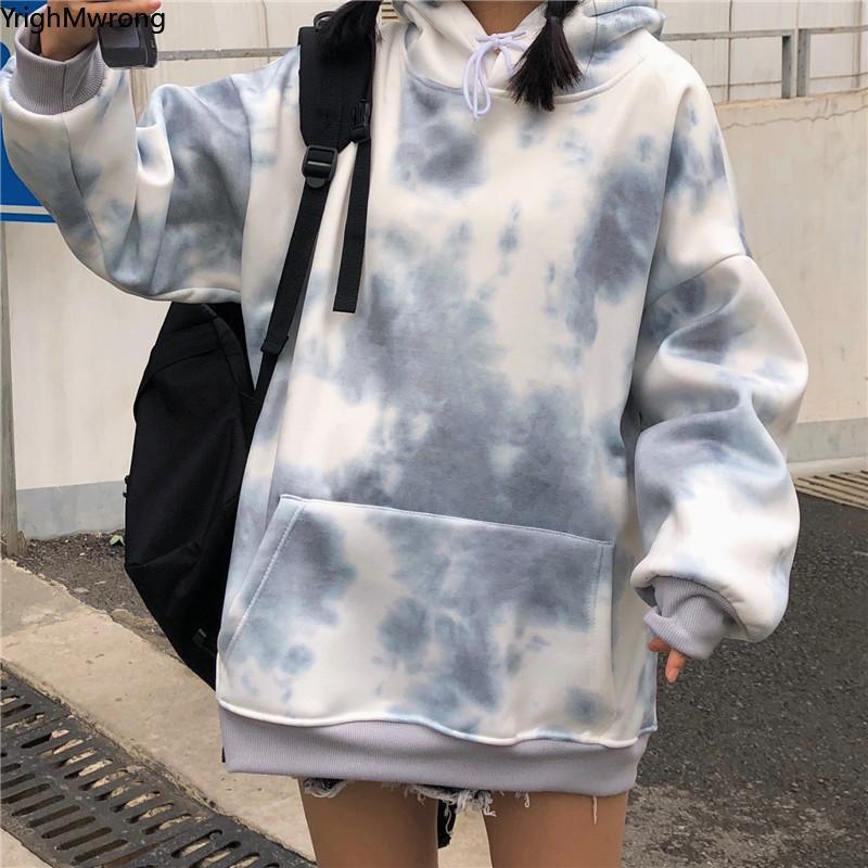 Tie Dye Contraste d'impression à capuchon de poche Sweat-shirt capuche Homme Femme Streetwear plus surdimensionné Harajuku Top coréen Hip Hop MX200808