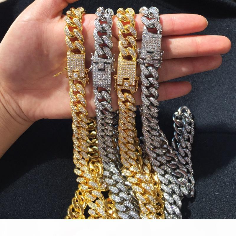 Hip Hop Branco Zircon Chains Jóias Chains Brilhante dos homens colar colar de ouro 18K prata Chains cubana Fazer a ligação