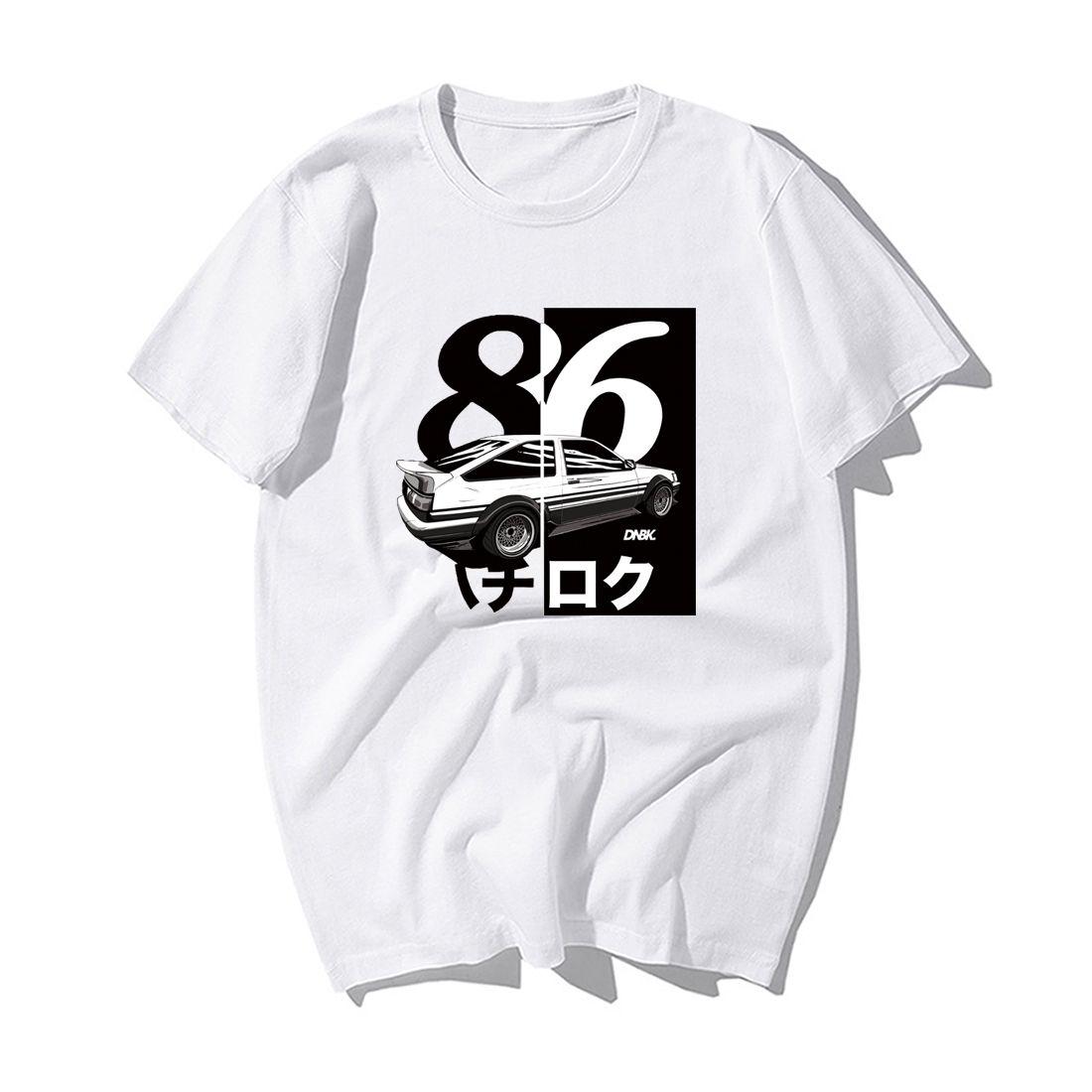 Homens Verão moda japonesa Deriva Anime D inicial T camisa legal mangas Cotton curto T-shirt Casual Ae86 Initial D Homme Camiseta