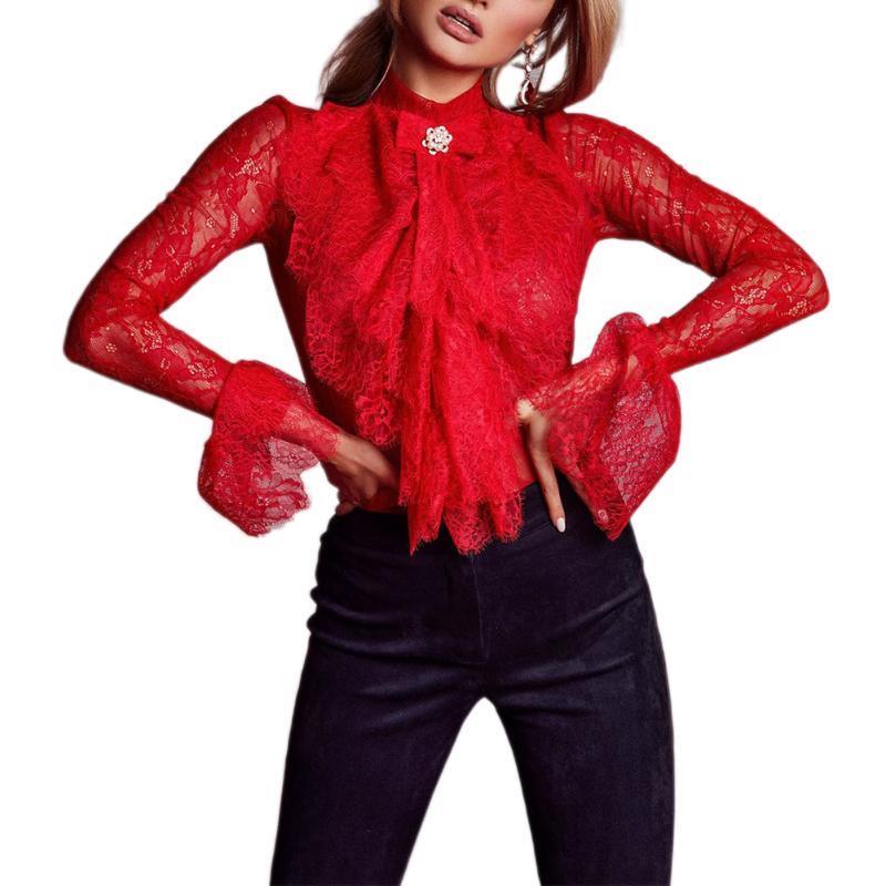 Manica lunga Maglia See Through Slim Outfit Bow Mock Neck multistrato Pizzo formale camicia selvaggia vestiti di modo camicetta delle donne Top 2020