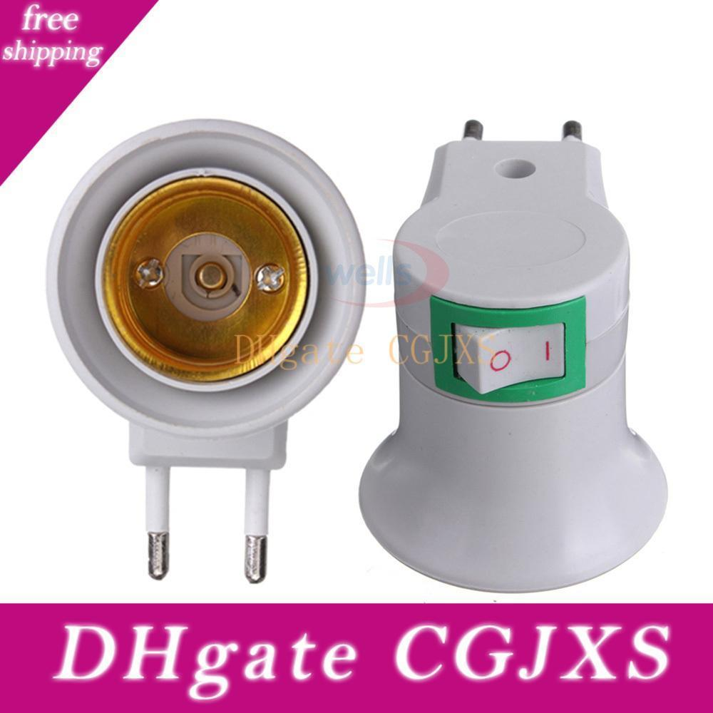 Free Shipping Bulb Lamp Eu Type Plug Adapter E27 Led Light Male Socket Converter With On /Off Button Holder