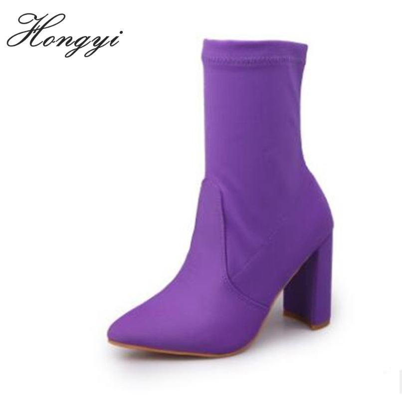 Hongyi Mode d'hiver Bottes satin femme Chaussures pour Lady doux Bottes en cuir bout pointu Chunky Heeled Booty