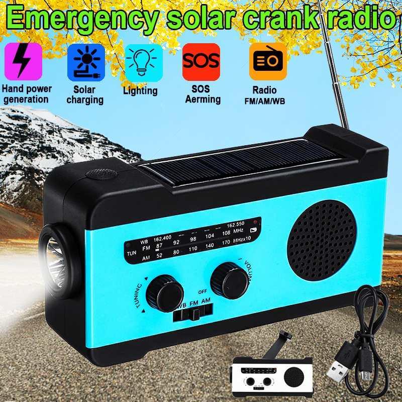 Profesional de la mano solar de radio AM Crank Auto Powered / FM radio del tiempo de 2000mAh Banco de alimentación Uso LED de emergencia