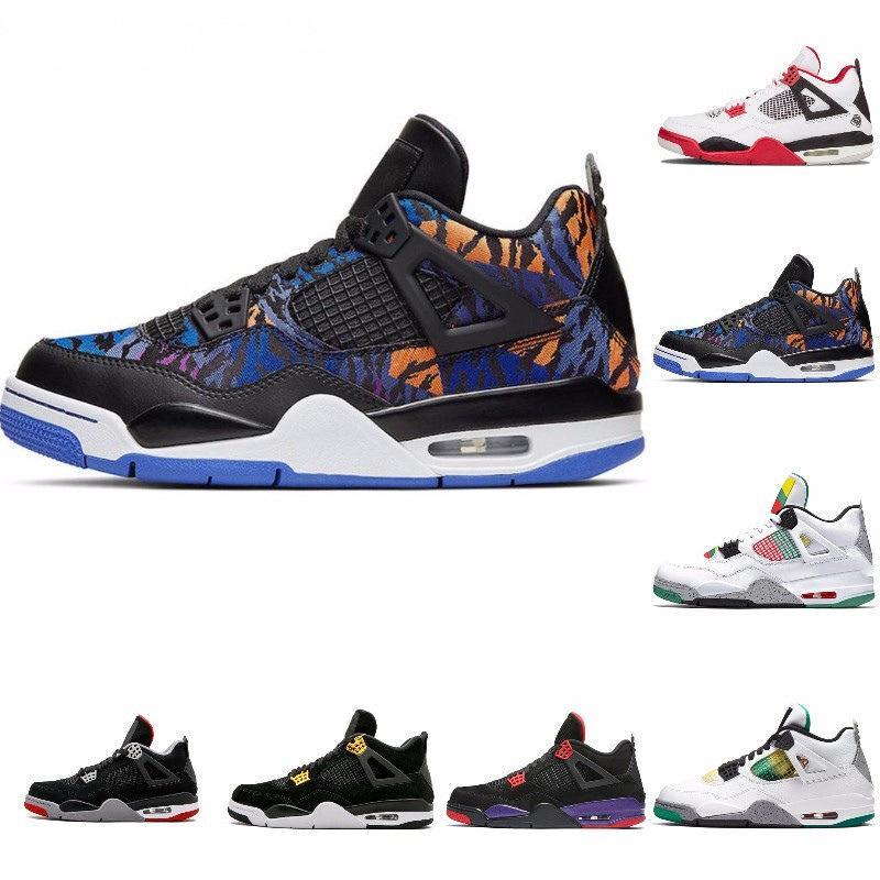 Cool Gray 4 Reines Geld Metallic-Pack Herren-Basketball-Schuhe 4S Pine Green Court Lila Universität Orange Red Sneaker J # 07-354