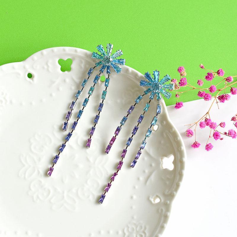 Bing Цирконий цветок кисточкой серьги для женщин Марка конструктора Длинный Кристалл серьга 925 серебра ювелирных изделия Романтической Любви подарки Моды