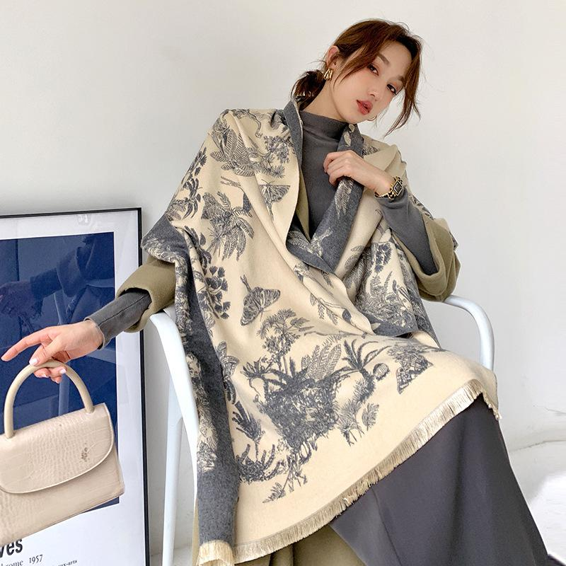 2020 Зимний шарф кашемира женщин Lady палантины Дизайн Печать Женские теплые шали и палантины Толстые Реверсивный шарфы Одеяло