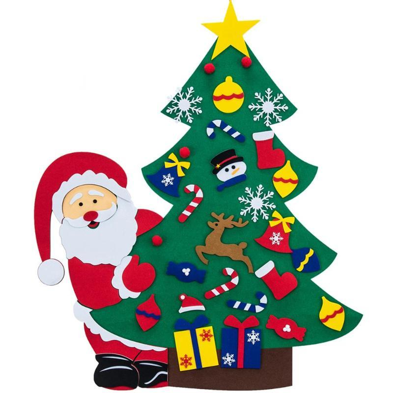 DIY Keçe Noel ağacı ile 38PCS Süsleme Çocuk Oyuncak Yılbaşı Noel hediyeleri Yapay Ağaç Duvar Noel Dekorasyon Home For