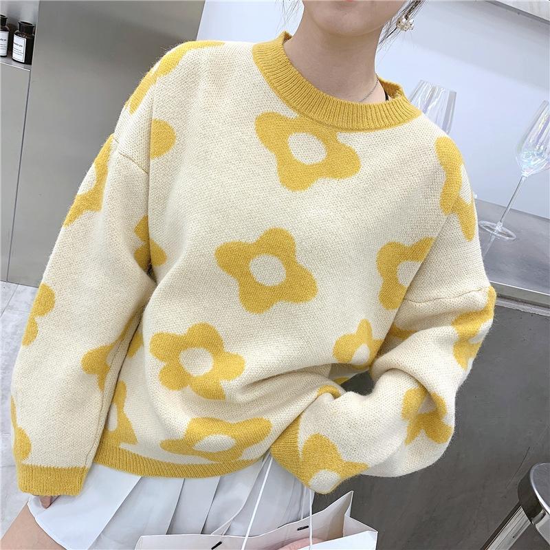 NqquY CLSI3 Sehr Fee Kleidung grün Internet Frauen Avocado 2020 Pullover Blume Herbst koreanische Pullover Berühmtheit gleiche gestrickte Frauen clo
