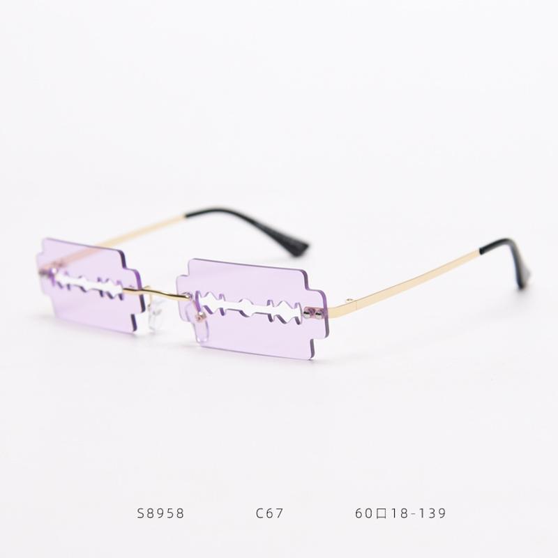 2020 Hoja sin montura vintage diseño nuevos gafas hombres moda uv400 único hueco steampunk metal sol mujeres gafas de sol Pkhqa