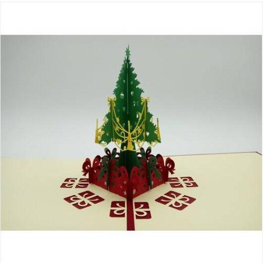 2019 envío caliente de las ventas al por mayor libre del papel de talla de papel creativa 3D de corte de felicitación del árbol de navidad tarjetas regalo del festival