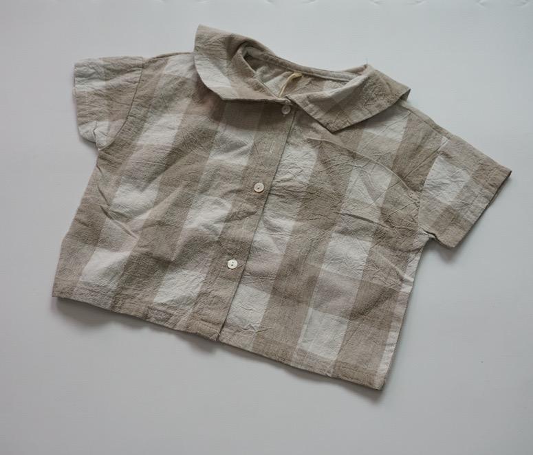 FM INS coréen Japon Enfants Filles Garçons uni Chemises en lin coton à manches courtes Turn-down Designer Qualité Little Princess Blouses enfants Tops