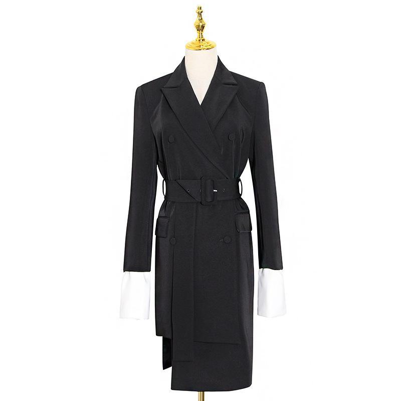 Корейских женщин платье Зубчатый с длинным рукавом высокой талией Пояса мундир Лоскутная Хит цвет платья Женская мода Одежда