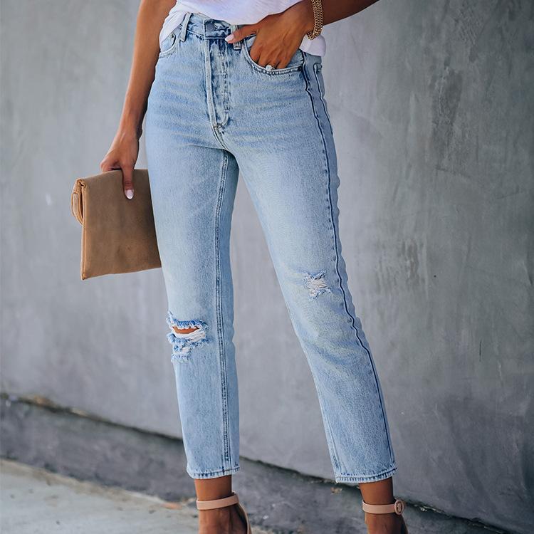 Vaqueros del agujero de las mujeres pantalones de los pantalones de cintura alta altura del tobillo de las mujeres WEPBEL rasgado agujero bolsillos blanqueado Moda