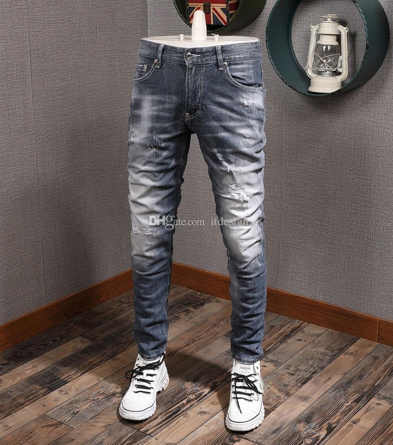 Vaquero 5 nuevo con jeans bolsillos manchas hombre clásico y detalle de puntada 2021 pintura y hot azul Uohjh