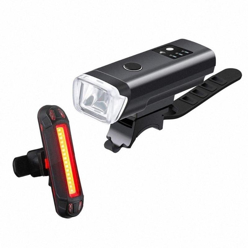 La luz de la lámpara inteligente sensor delantero luces de bicicleta 5 LED USB Modos de bicicletas luces recargables Conjunto noche el equipo de ciclo # LR3 Wx1W #