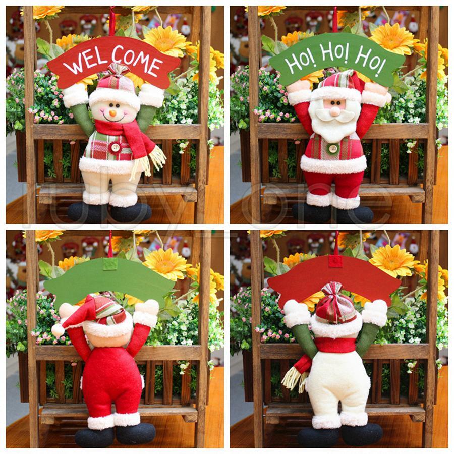 La decoración del árbol de navidad de la puerta ornamento colgante colgante de Santa Claus SnowmanChristmas decoraciones para Home Hotel Puerta del regalo de Navidad Decoración RRA3439