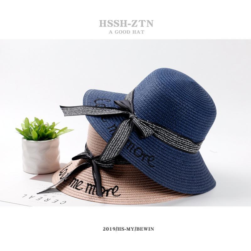 Yaz Visor Kadın Kore Stili Çok yönlü Sevimli Nefes Hasır Şapka Büyük Brimmed Güneş Koruma Şapka Şerit İşlemeli Bow