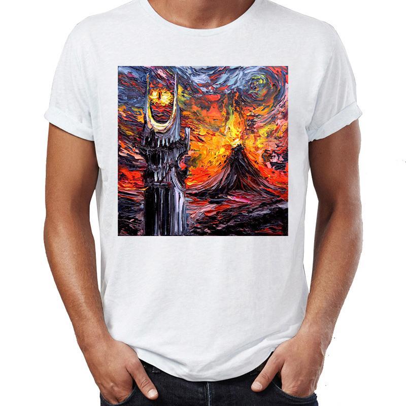 T-shirt pour homme Vincent Van Gogh Nuit étoilée La communauté de l'anneau Mordor Impressionnant illustration imprimée T