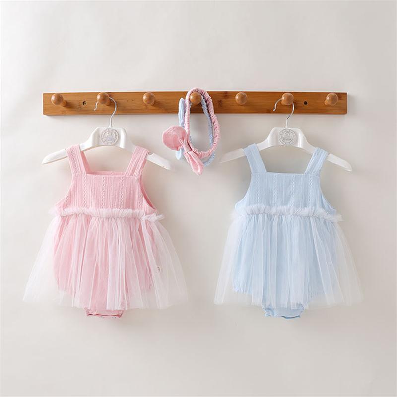 Giyim 2020 Yaz Kore Stil Pamuk Kayış Romper Elbise Yenidoğan Bebek Kız Prenses Onesie Jumpsuit Giyim