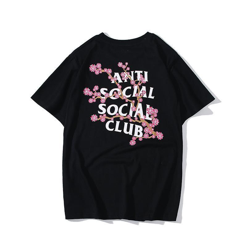 T-shirt e le donne lettera rosa fiori di ciliegio stampa cotone manica corta modo del collo rotondo Hip hop manicotto mezzo del nuovo stile